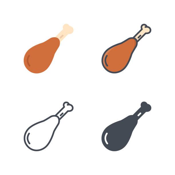 huhn bein fleisch essen vektor icon flache linie silhouette farbig - lachskuchen stock-grafiken, -clipart, -cartoons und -symbole