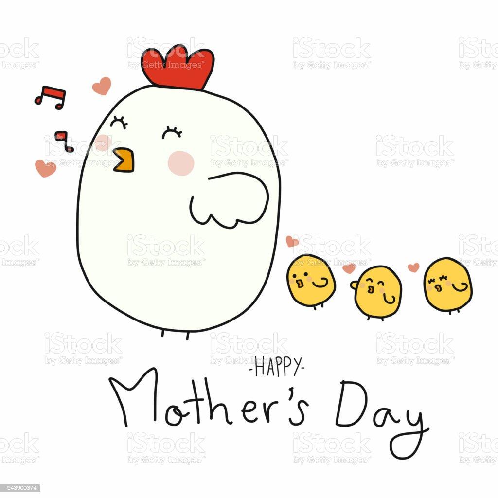鶏ママと赤ちゃんの雛幸せな母の日漫画 いたずら書きのベクターアート