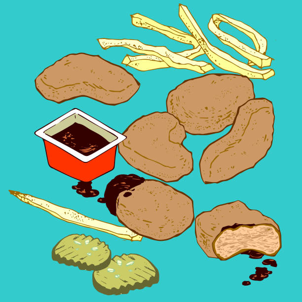 Chicken Nuggets and Dipping Sauce vector art illustration