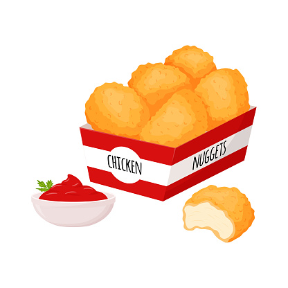 Chicken nuggets in a box and a bowl with ketchup sauce and herbs. Fast food, snacks, meat food. Fatty, high-calorie food. Flat cartoon style, isolated on a white background.Color vector illustration.