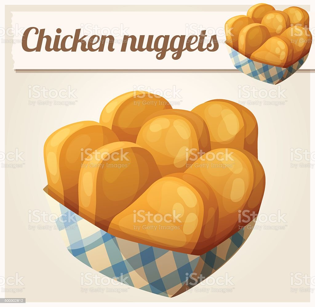 Chicken nuggets in the paper basket. Detailed vector icon vector art illustration