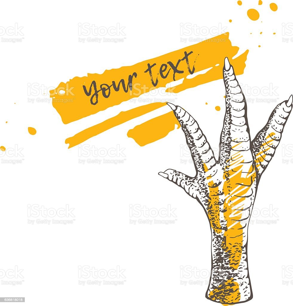 Chicken or turkey foot vector art illustration
