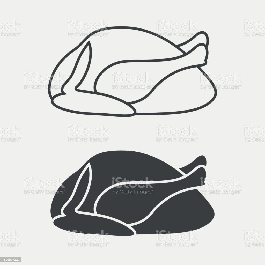 Chicken or turkey monochrome icon. Vector illustration. vector art illustration