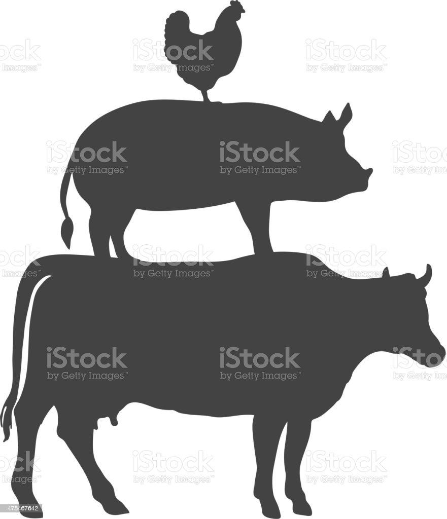Chicken Pork Cow Farm Animals Vector vector art illustration