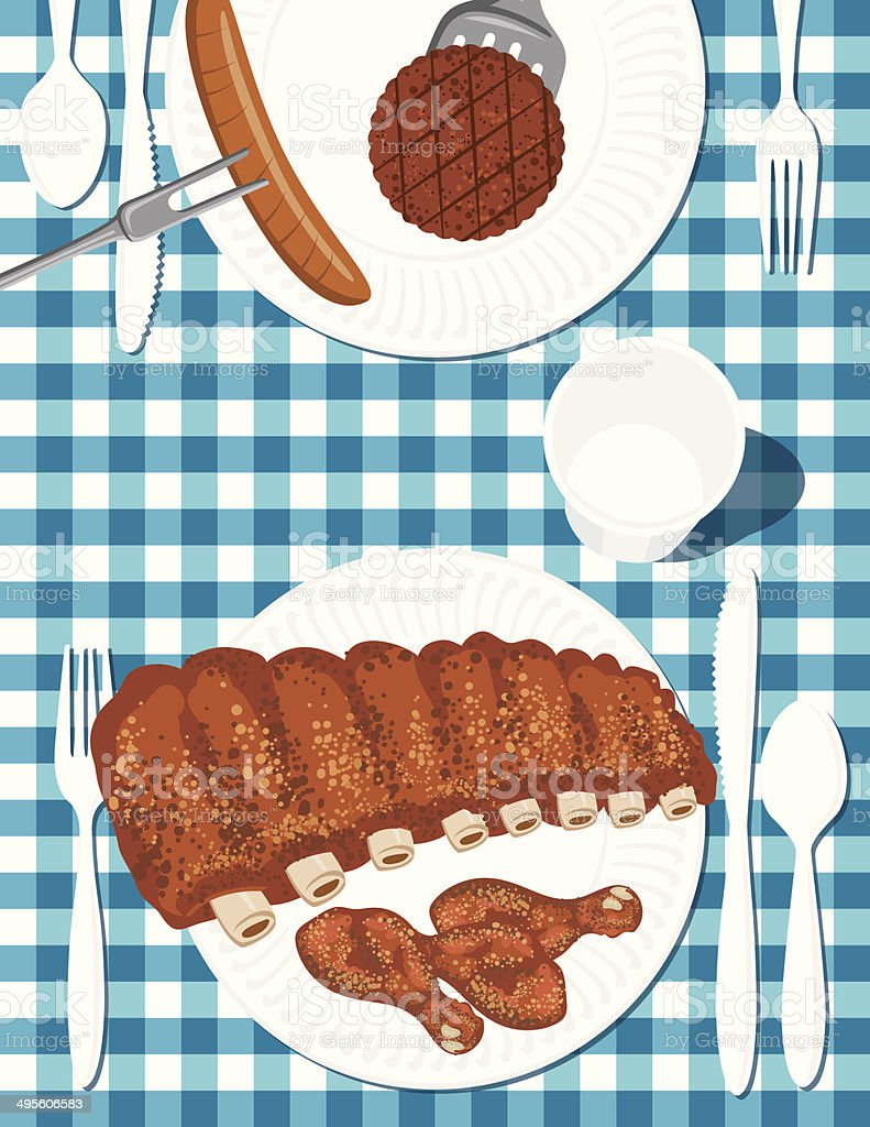Chicken & Ribs BBQ Picnic royalty-free stock vector art