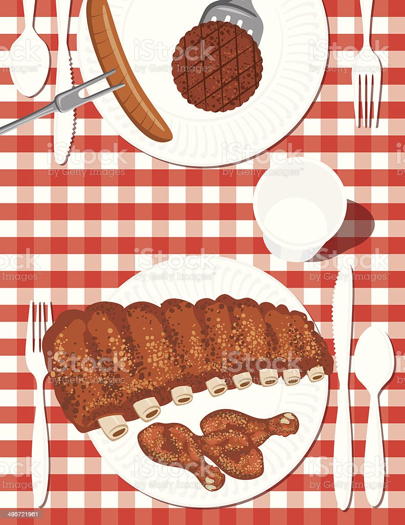 Chicken & Ribs BBQ Picnic royalty-free stock vector art