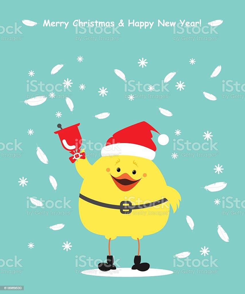Chicken Santa Claus Christmas Card Chick Clothing Santa Ringing Bell ...