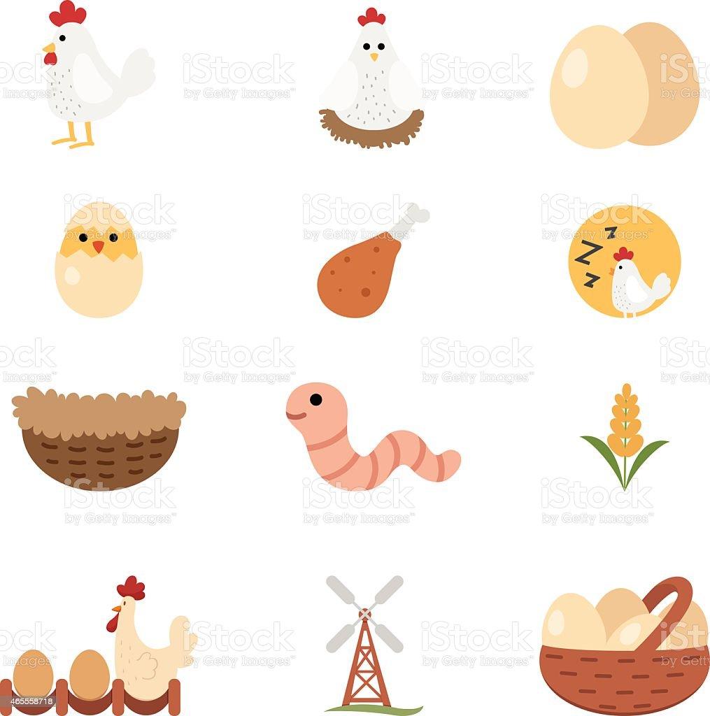 chicken set icon vector art illustration