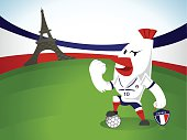 chicken soccercharacter  in soccer field in France with France national flag background