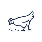 istock Chicken thin line icon 1256611020