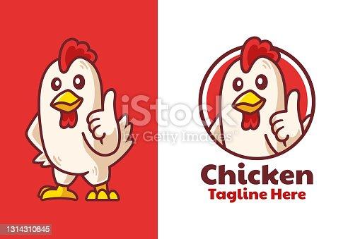 istock Chicken Thumbs Up Mascot Logo Design 1314310845
