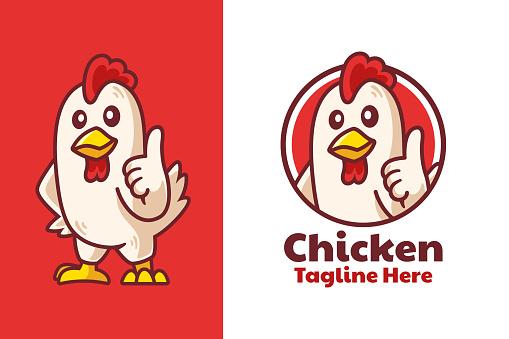 Chicken Thumbs Up Mascot Logo Design