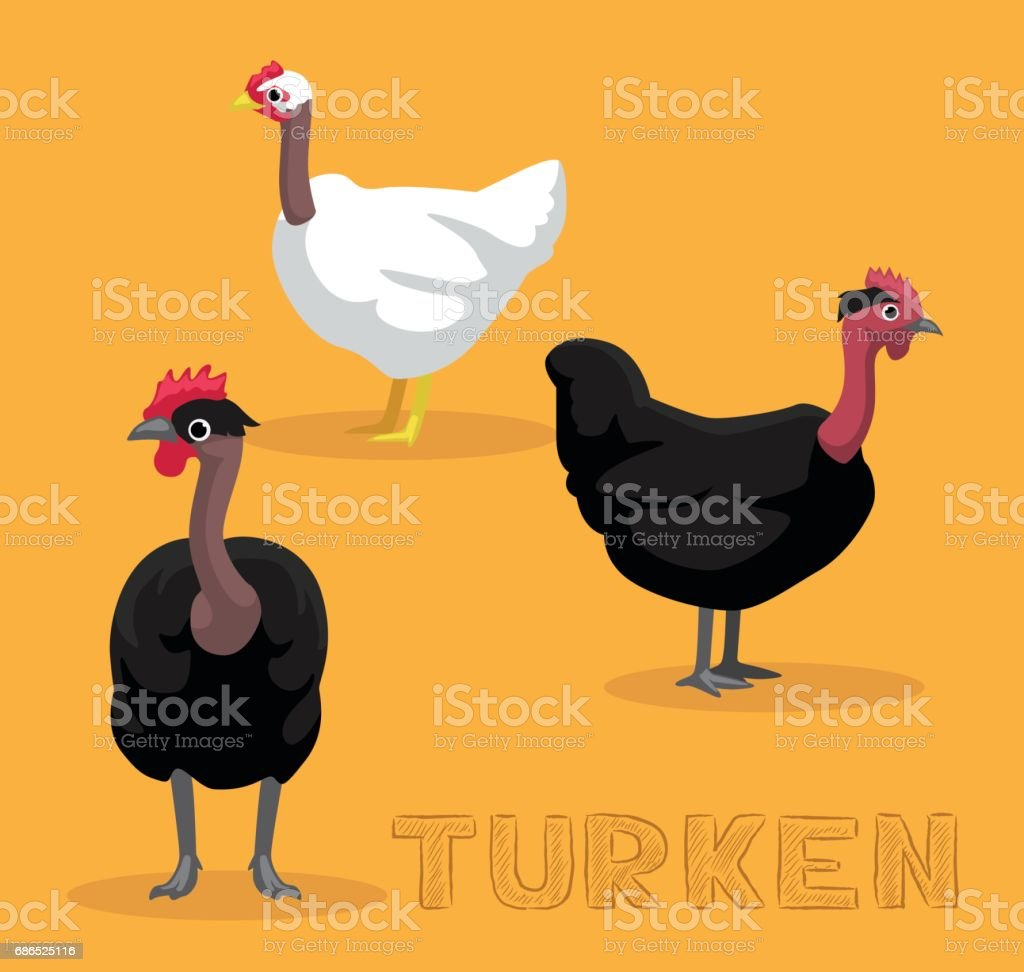 Chicken Turken Cartoon Vector Illustration vector art illustration
