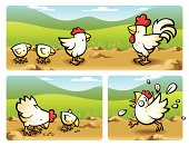 Vector illustrated leghorn domestic fowl. Characters layered in case you want to easily remove the background. Basic gradients and blends. Includes print-optmized CMYK native Freehand and Illustrator files, besides high & low resolution screen oriented RGB .jpgs. Almost imperceptible color shift between both systems.