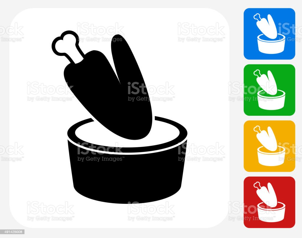 Chicken Wing and Dip Icon Flat Graphic Design vector art illustration