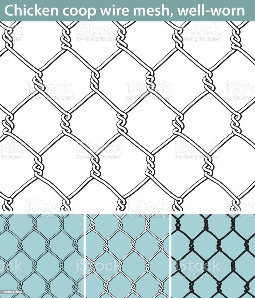 Chicken Wire Wellworn Stock Vector Art & More Images of Abstract ...