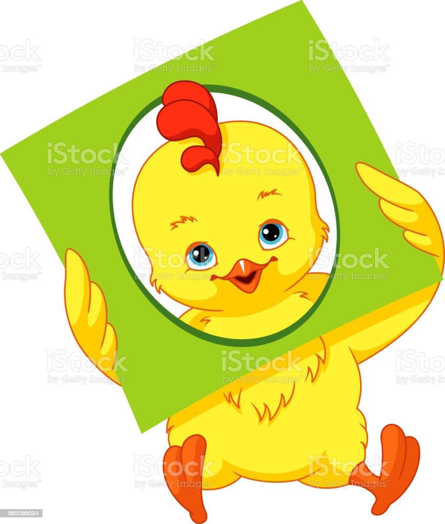 Chicken with a card of geometric shape: oval. chicken with a card of geometric shape oval - stockowe grafiki wektorowe i więcej obrazów bez ludzi royalty-free