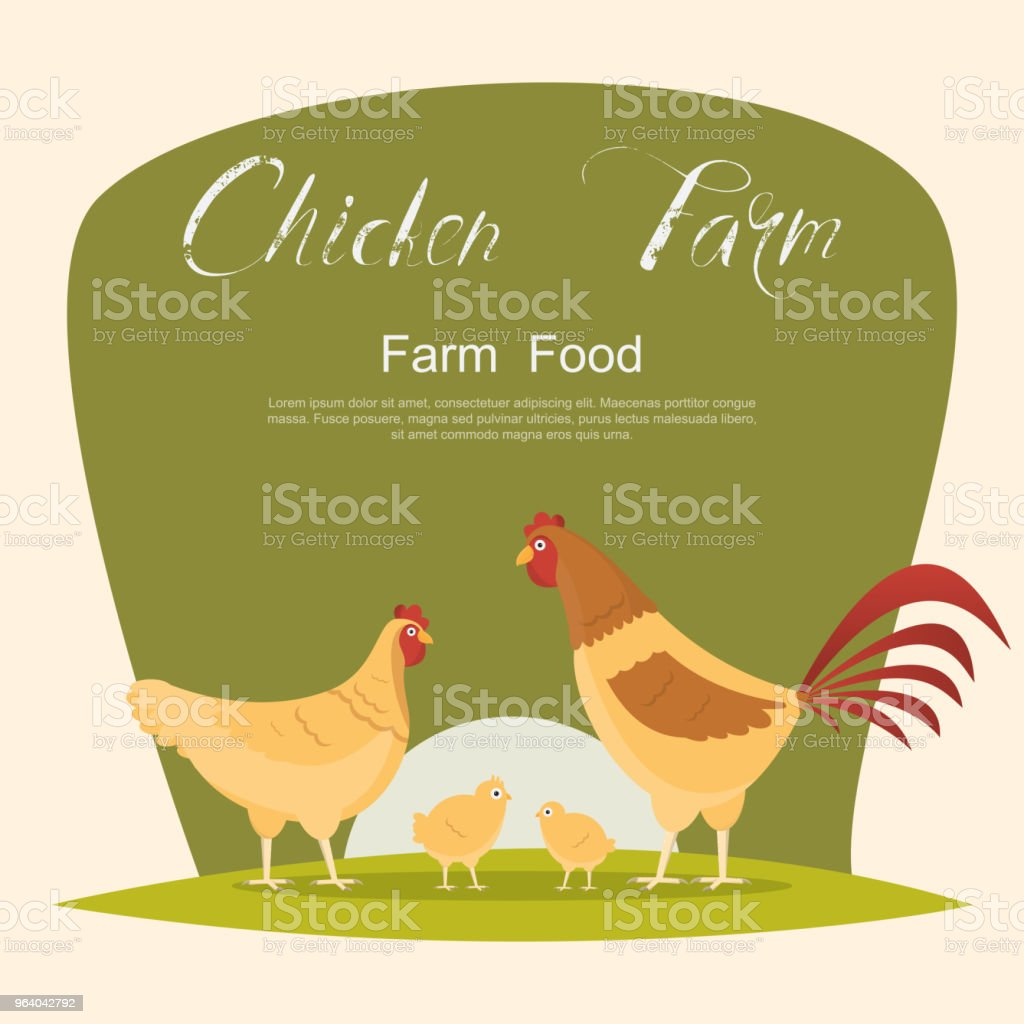 Chicken with green sign. set of animals inside farm - Royalty-free Animal stock vector