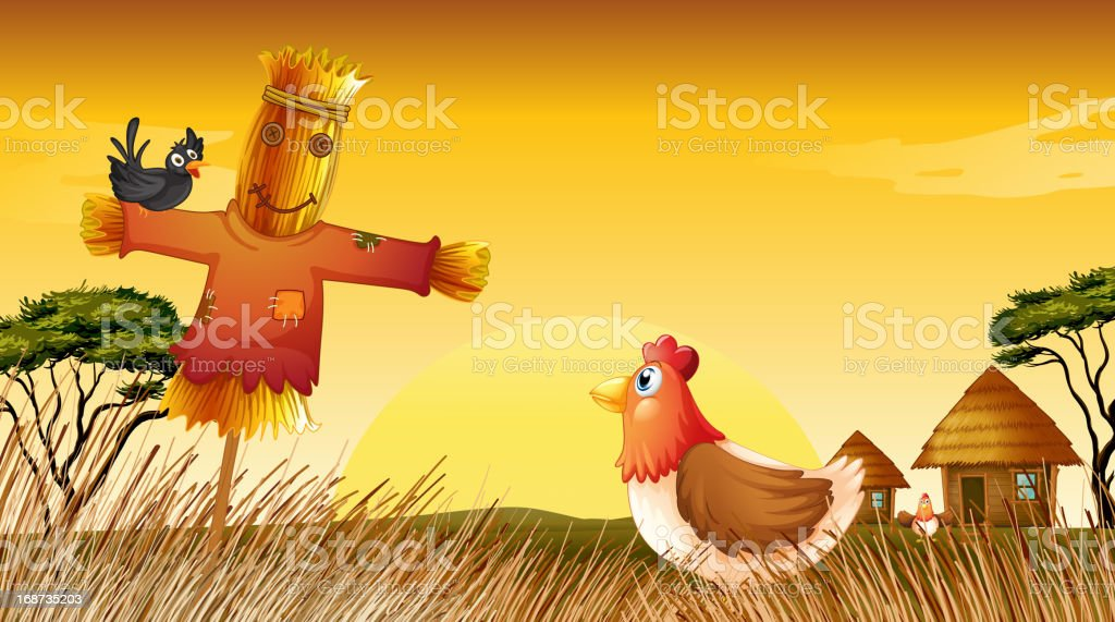 Chicken with scarecrow and black bird at the field royalty-free chicken with scarecrow and black bird at the field stock vector art & more images of animal