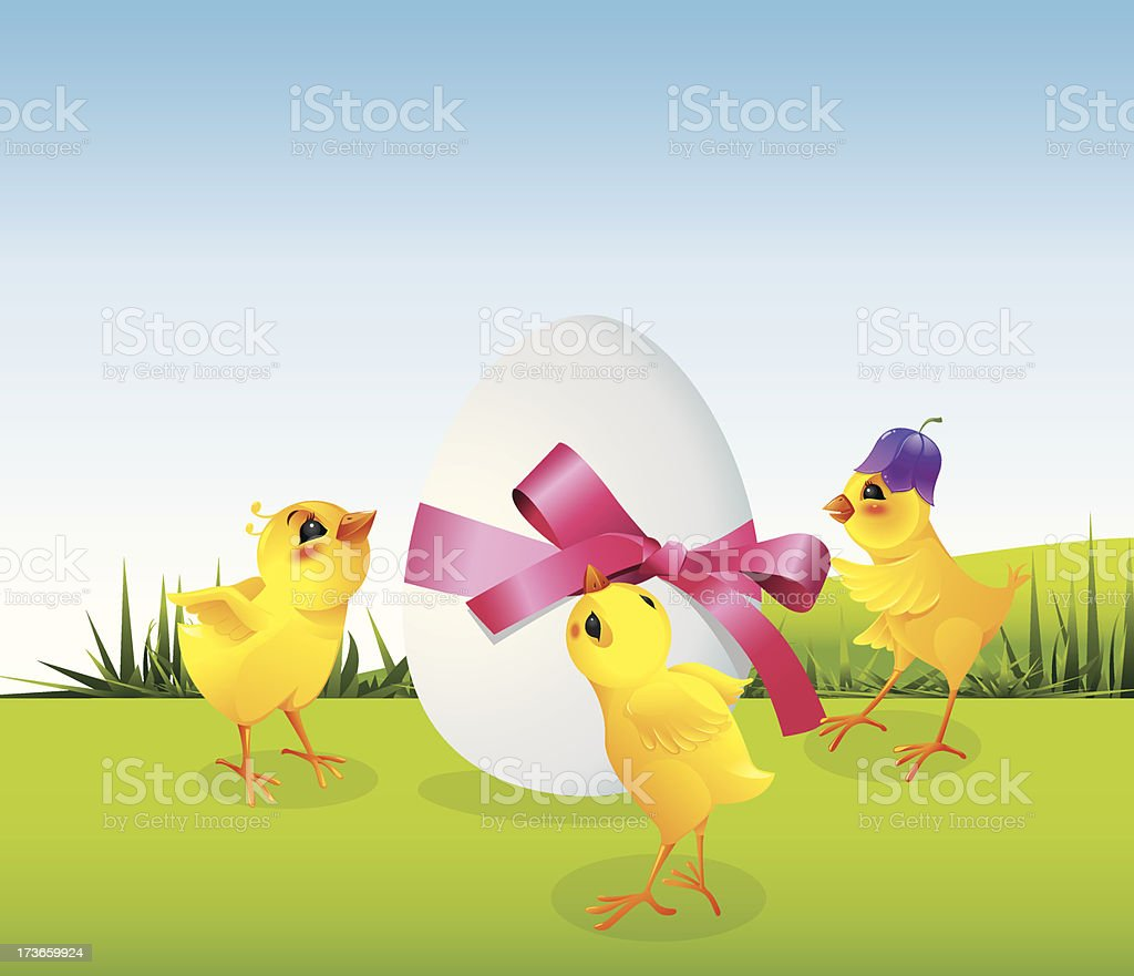 Chickens and egg on meadow royalty-free stock vector art