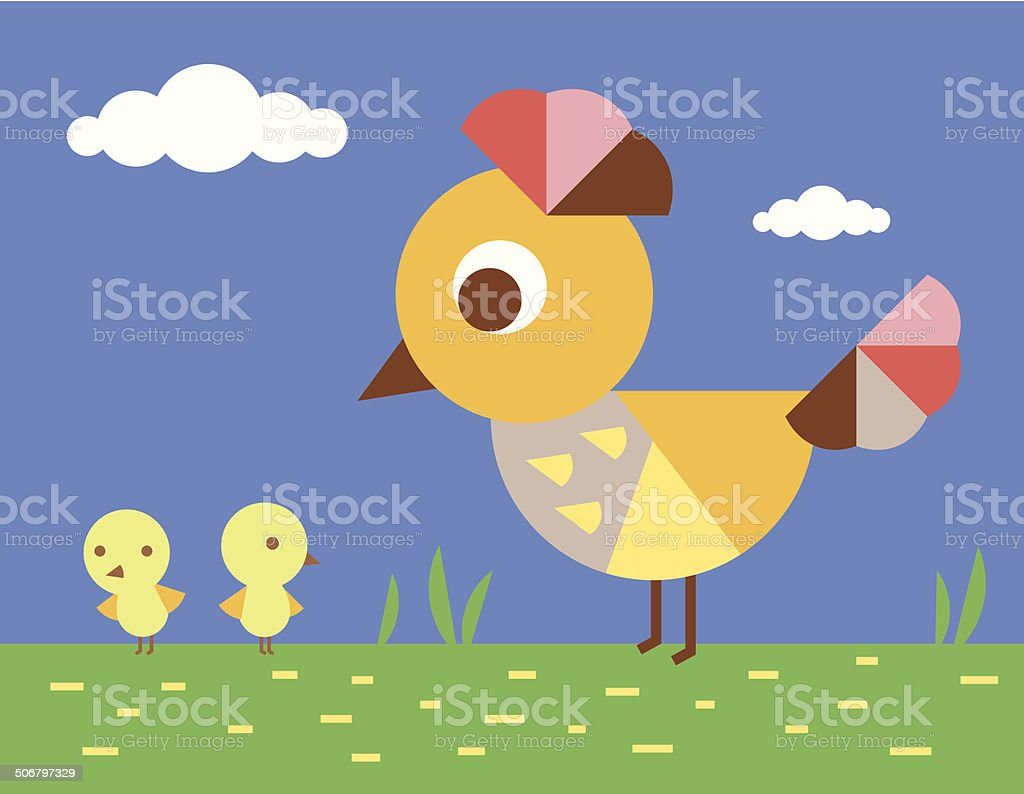 Chickens on the green meadow royalty-free stock vector art