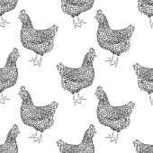 Chickens Seamless Pattern Vector Illustration in Watercolor and Ink - Fully Editable