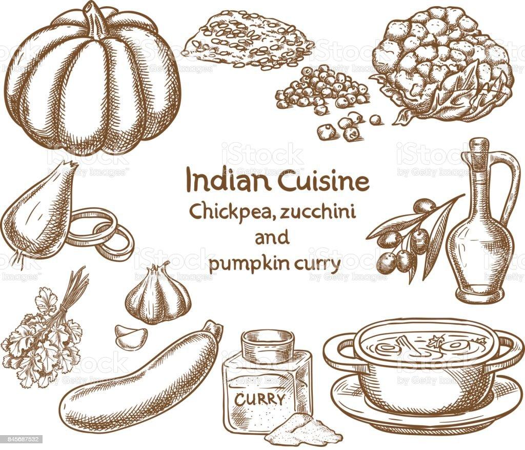 Potiron, courgettes et pois chiches au curry ingrédients - Illustration vectorielle