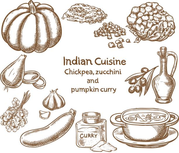 chickpea,zucchini and pumpkin curry  ingredients - indian food stock illustrations, clip art, cartoons, & icons