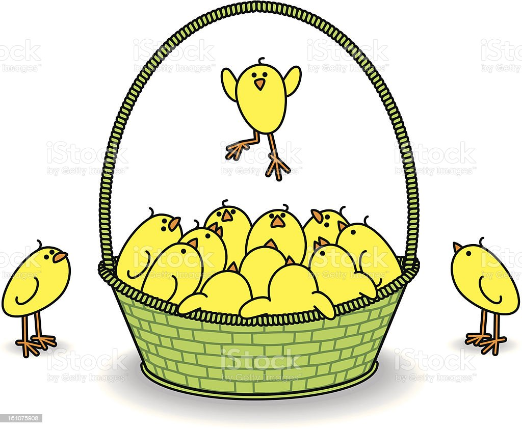 Chicks in a Green Basket with one Leaping royalty-free stock vector art