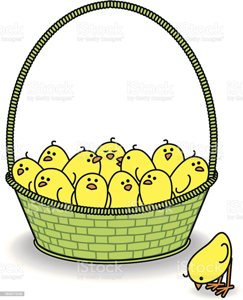 Chicks in a Green Basket with One Outside royalty-free chicks in a green basket with one outside stock vector art & more images of animal