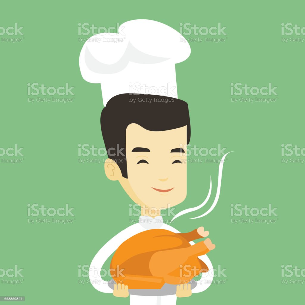 Chief cook holding roasted chicken vector art illustration