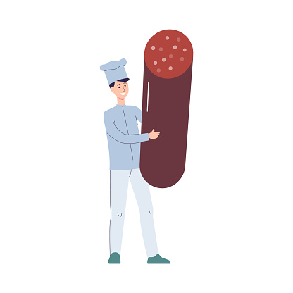 Chief cook man with huge sausage in hands, flat vector illustration isolated.