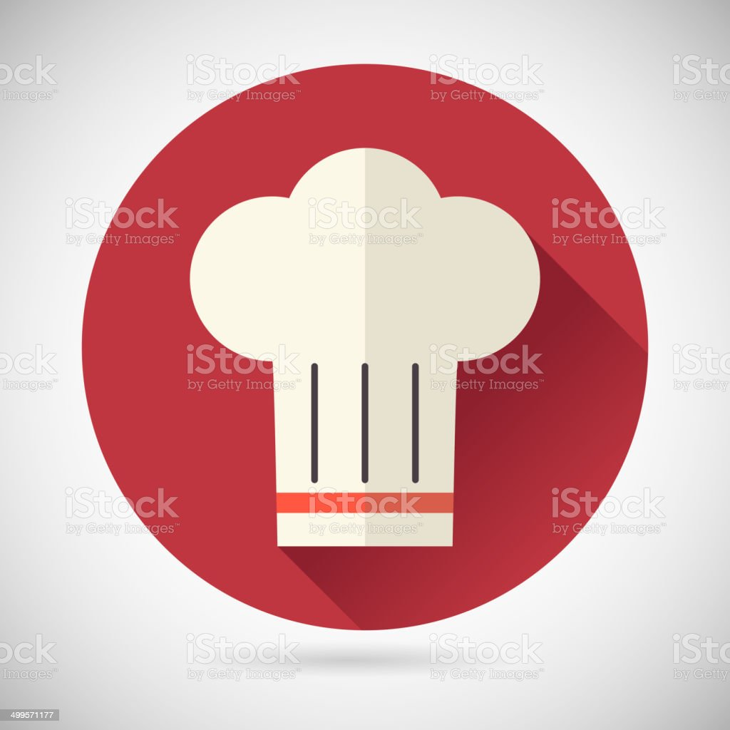 Chief Cook Symbol Toque Cuisine Food Icon on Stylish Background vector art illustration