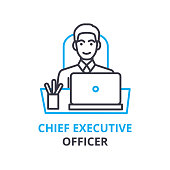Chief executive officer concept , outline icon, linear sign, thin line pictogram, , flat vector, illustration