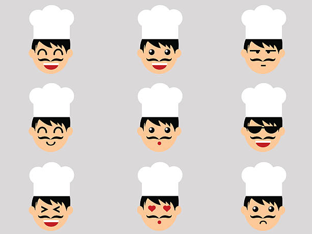 illustrazioni stock, clip art, cartoni animati e icone di tendenza di chef espressione - chef triste