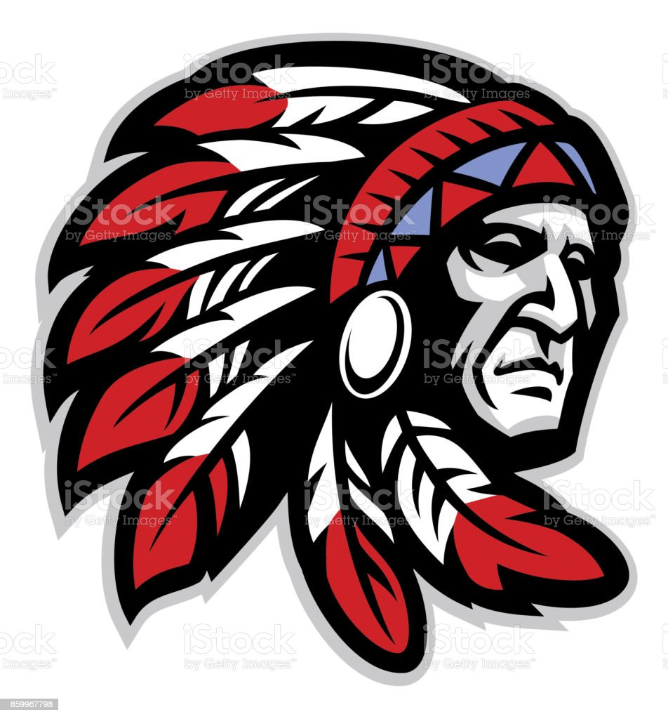 chief mascot head vector art illustration
