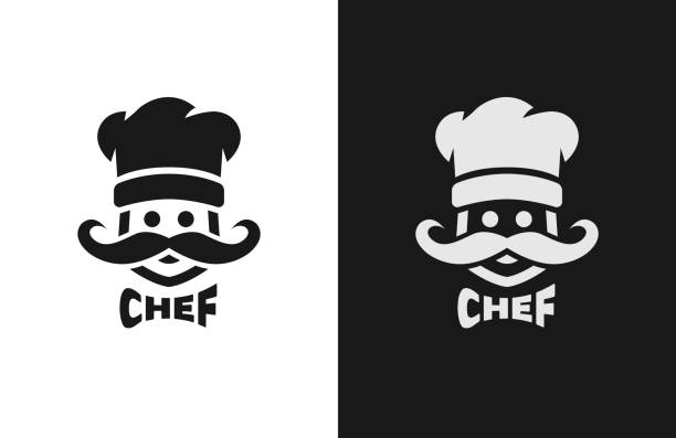Chief monochrome , two versions. Chief monochrome , two versions. Vector illustration chef's hat stock illustrations
