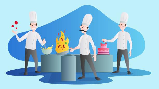 ilustraciones, imágenes clip art, dibujos animados e iconos de stock de trío jefe - busy restaurant kitchen