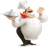 Cartoon Chef with a Tray - Vector Illustration.