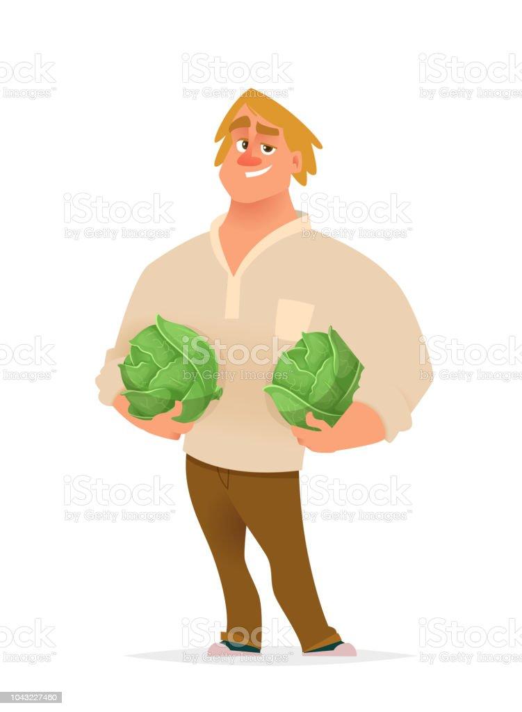 Chifull farmer holding slice of watermelon. Character design illustration. vector art illustration