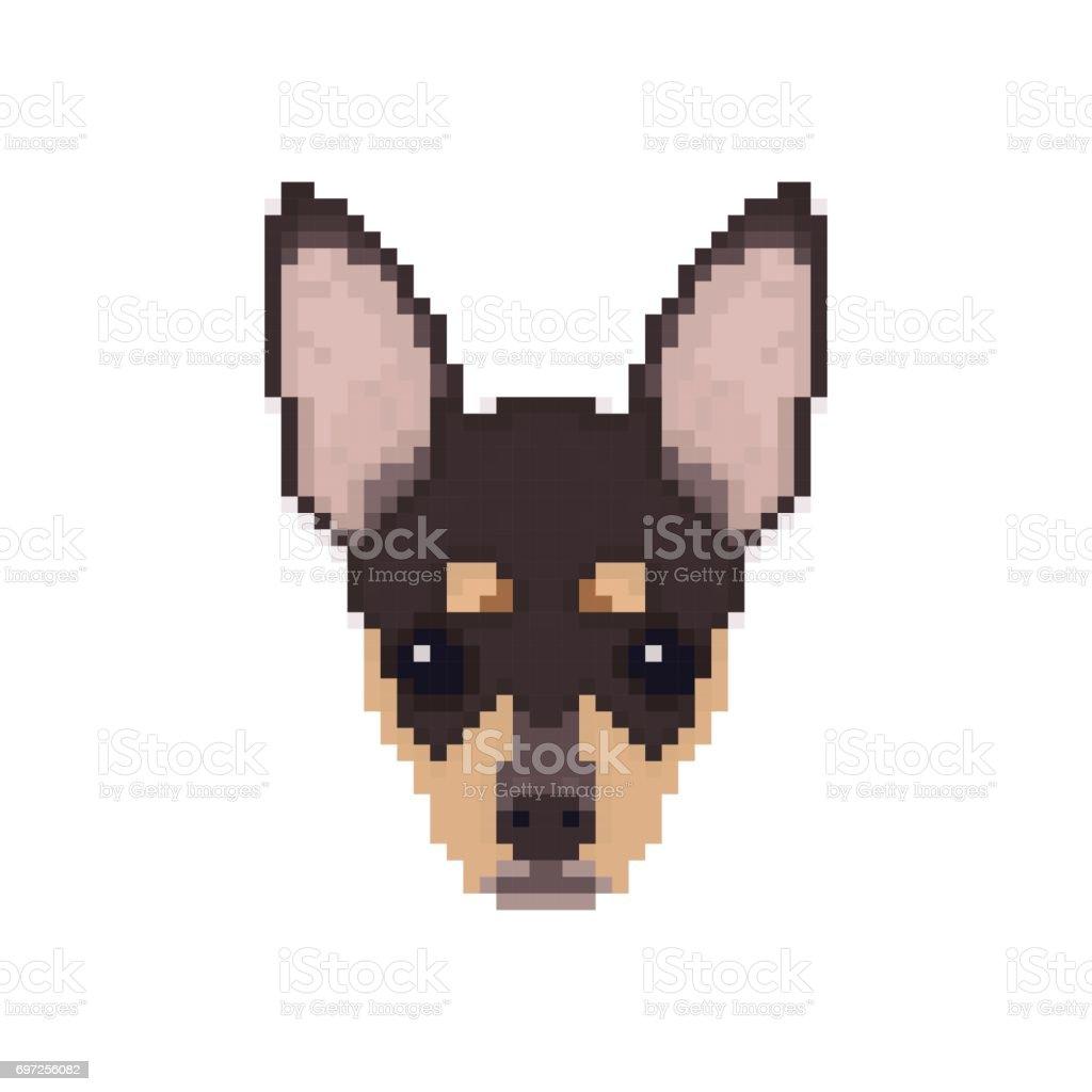 Tête De Chihuahua Dans Un Style Pixel Art Illustration