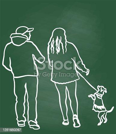 istock Chihuahua On His Daily Walk Chalkboard 1251650267