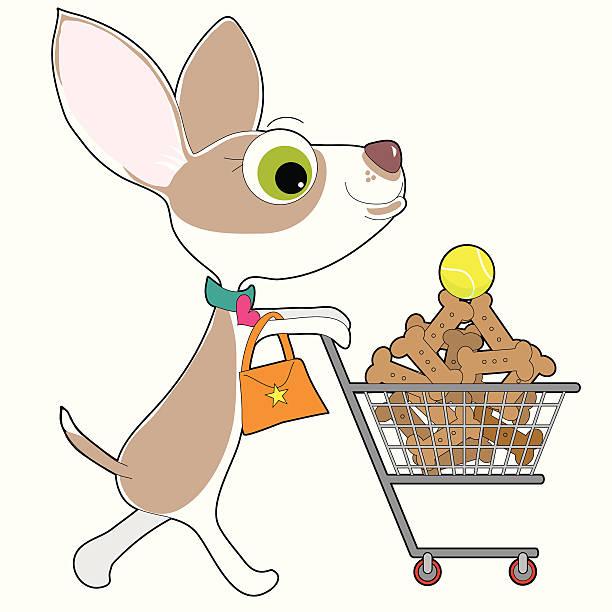 chihuahua shopping - dog treats stock illustrations