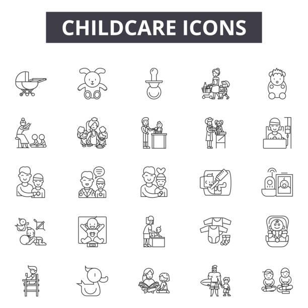 chilcare ラインアイコン、記号セット、ベクトル。chilcare アウトラインコンセプト、イラスト: 赤ちゃん、育児、子供、ケア、家族、母 - 保育点のイラスト素材/クリップアート素材/マンガ素材/アイコン素材