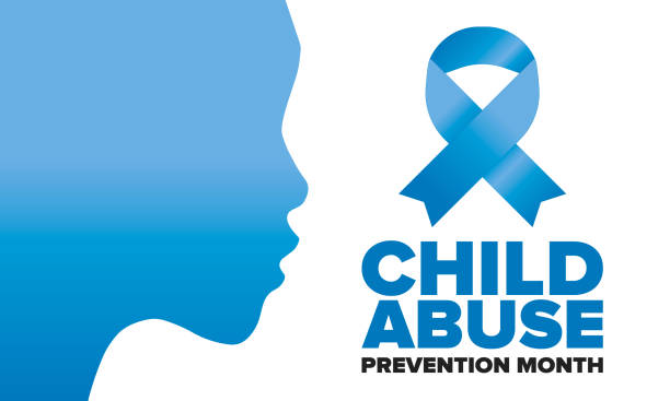 child abuse prevention month. celebrate annual in april in united states. stop child violence. children protection and safety month. unity for children. poster, banner, background. vector illustration - child abuse stock illustrations