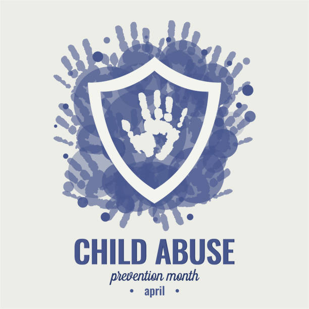 child abuse prevention month - child abuse stock illustrations