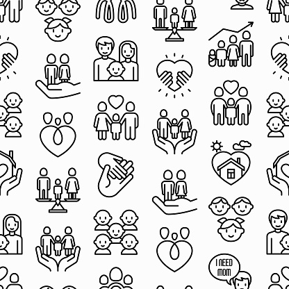 Child adoption seamless pattern with thin line icons: adoptive parents, helping hand, orphan, home care, LGBT couple with child, custody, caregivers, happy kid. Modern vector illustration.