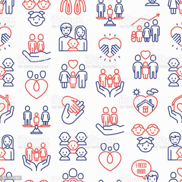 Child adoption seamless pattern with thin line icons adoptive parents vector id1179371837?b=1&k=6&m=1179371837&s=612x612&h=e0tnf8iez9fzjbtp4adb7irsh 0ue4qa9myha b5afg=
