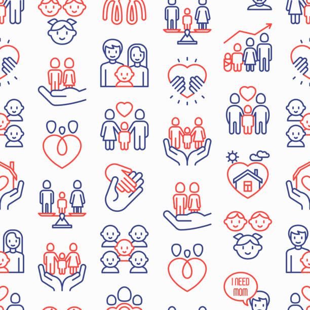 illustrazioni stock, clip art, cartoni animati e icone di tendenza di child adoption seamless pattern with thin line icons: adoptive parents, helping hand, orphan, home care, lgbt couple with child, custody, caregivers, happy kid. modern vector illustration. - family home