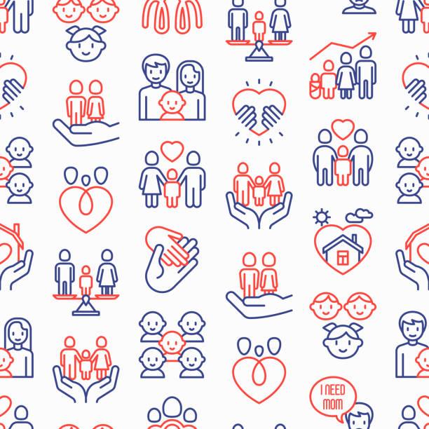 i̇nce çizgi simgeleri ile çocuk evlat edinme dikişsiz desen: evlat edinen ebeveynler, yardım eli, yetim, ev bakımı, çocuk, velayet, bakıcılar, mutlu çocuk ile lgbt çift. modern vektör illüstrasyon. - family home stock illustrations